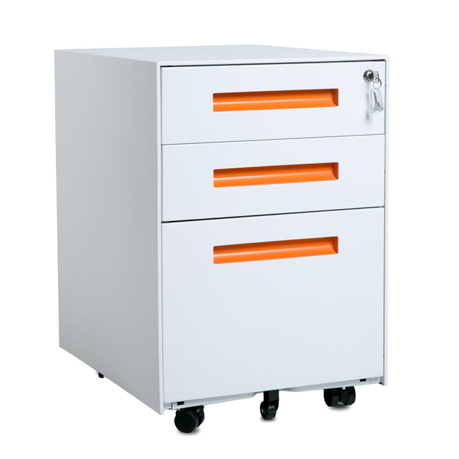 3-Drawer Mobile Metal File Cabinet with Lock and Keys BH188480