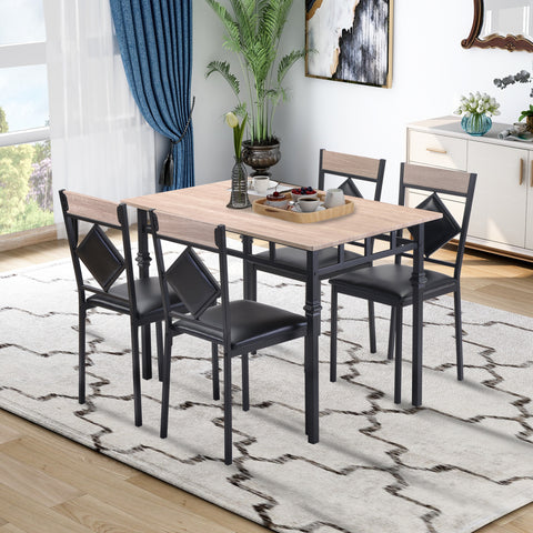 5 Counts - Dining Table Set Industrial Wooden Kitchen Table and 4 Chairs for Dining Room ST000010