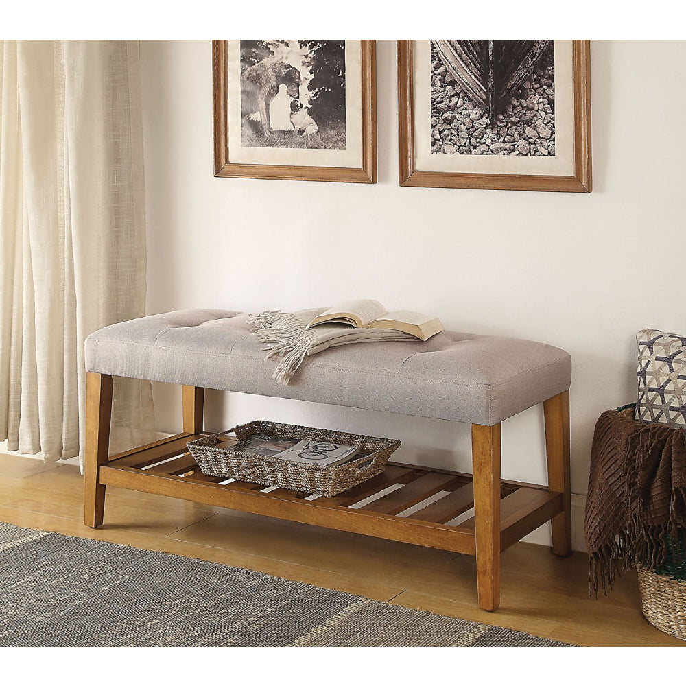 Charla Tufted/Padded Seat Cushion Bench With Open Storage Light Gray & Oak