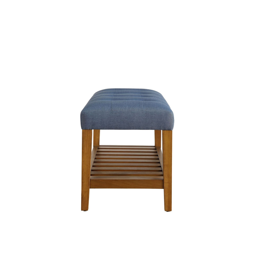 Charla Tufted/Padded Seat Cushion Bench With Open Storage Blue & Oak