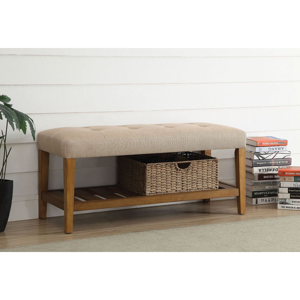 Charla Tufted/Padded Seat Cushion Bench With Open Storage Beige & Oak