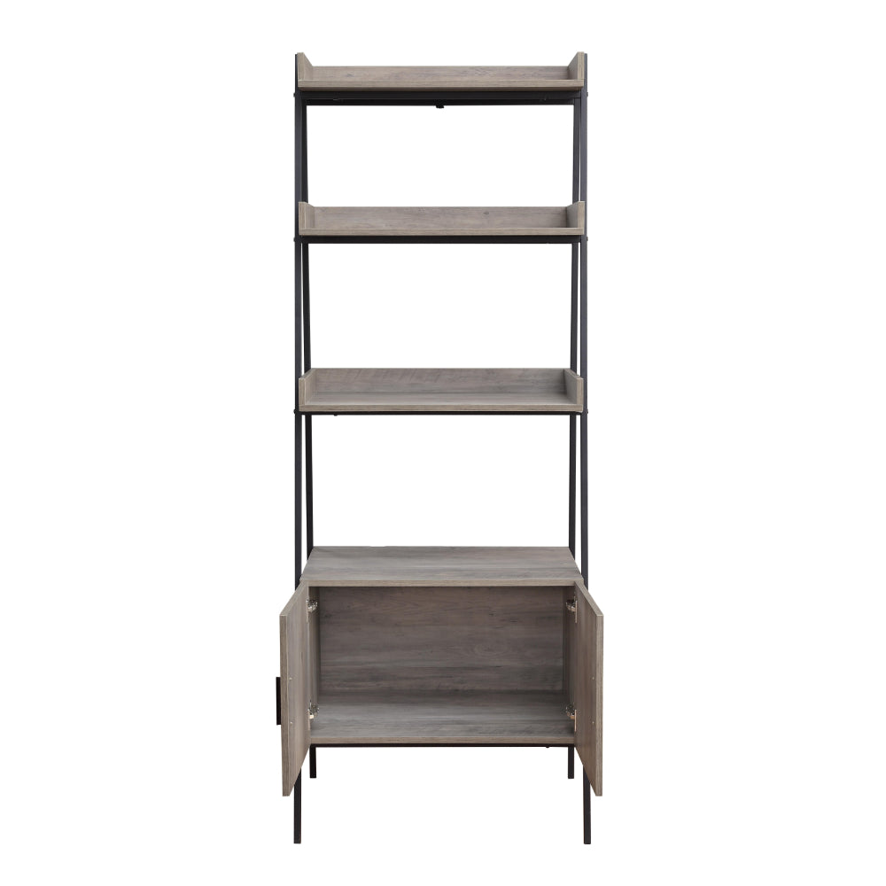 Rectangular Leaning-Ladder Bookshelf With Open Compartments & Cabinet Gray Oak & Black