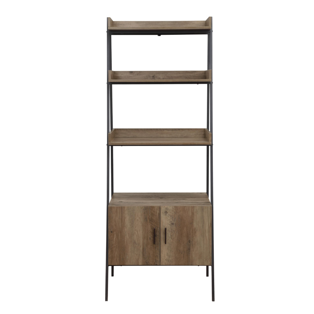 Rectangular Leaning-Ladder Bookshelf With Open Compartments & Cabinet Rustic Oak & Black