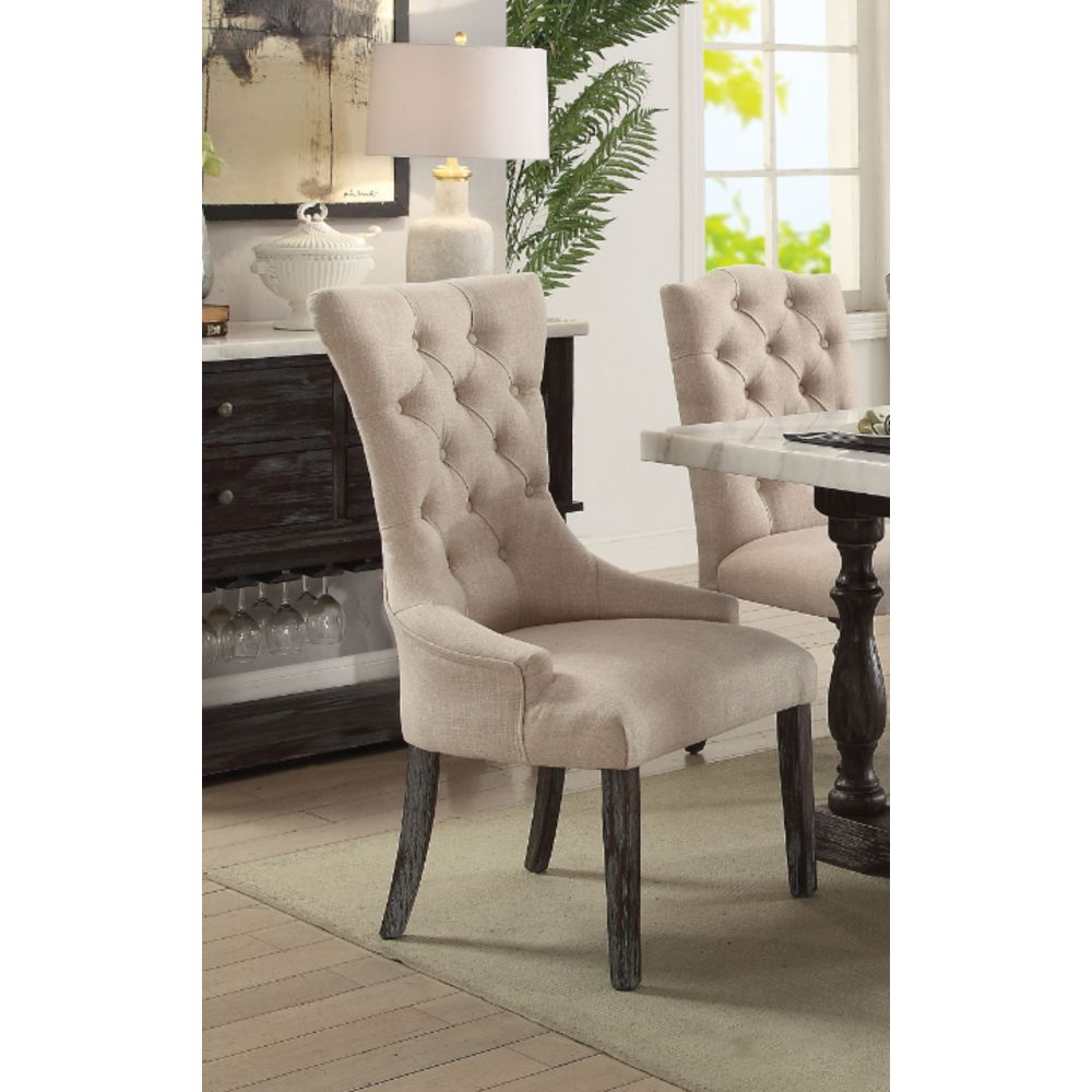 2 Counts - Armless Dining Chair in Beige Linen & Weathered Espresso BH60823