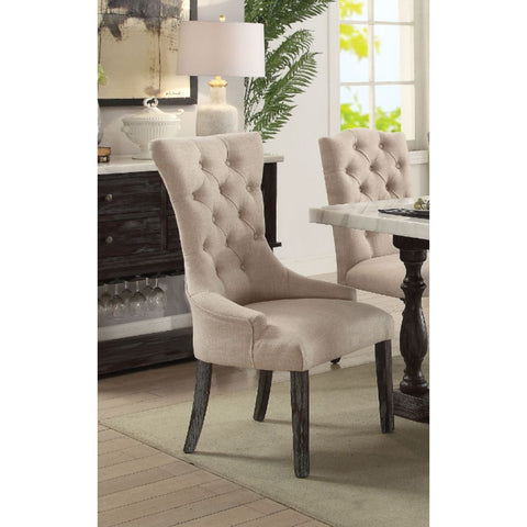 Upholstered Side Chairs Dining Room in Fabric & Gray Oak Set Of 2 BH72862 BH72863