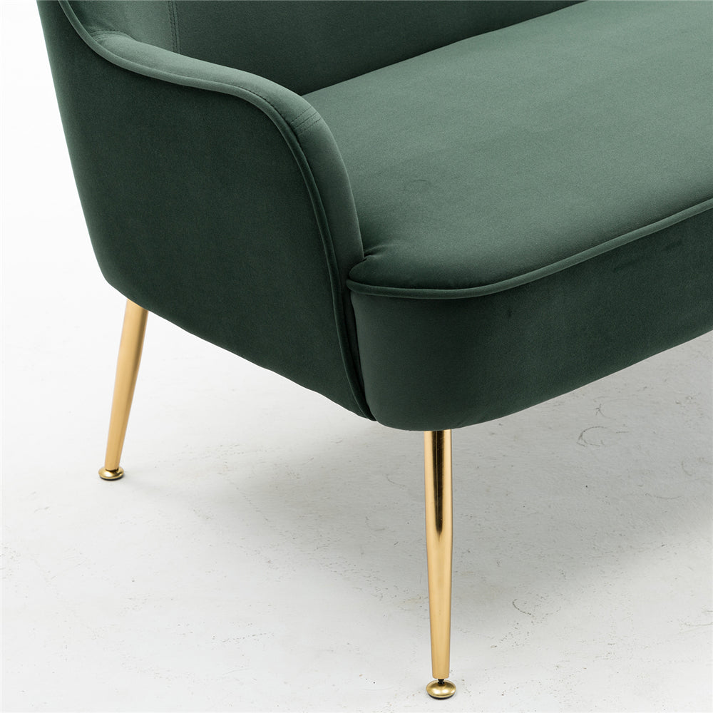 Velvet Accent Chair With Gold Metal Legs Green