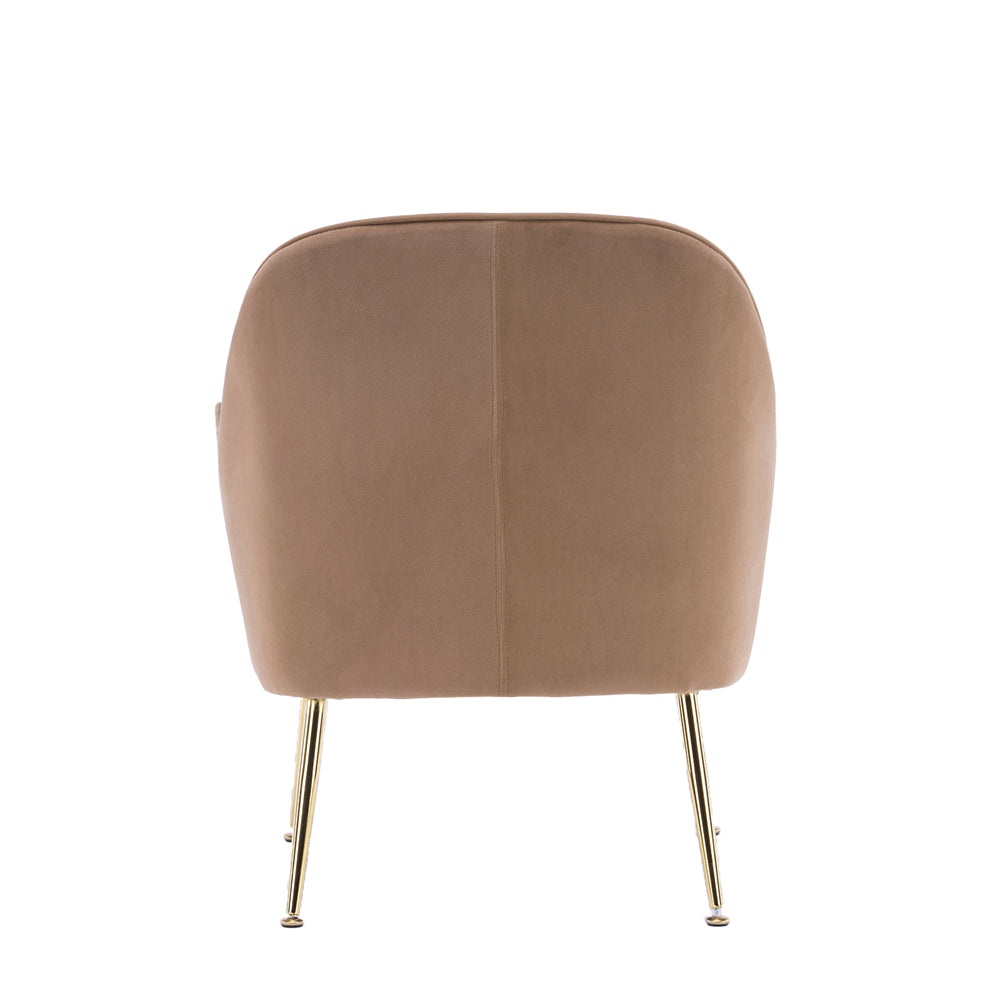 Velvet Accent Chair With Gold Metal Legs Brown