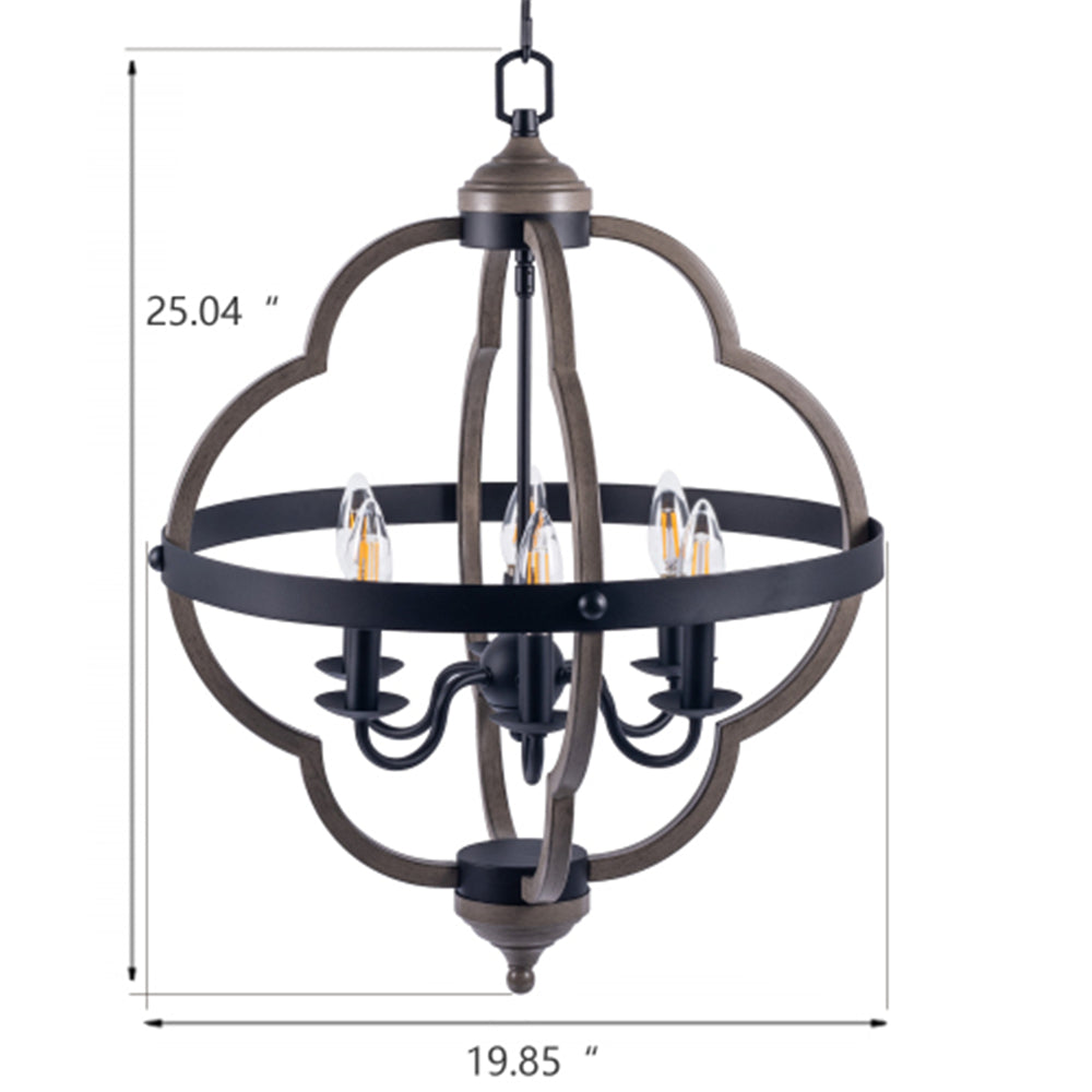 6-Light Candle Style Geometric Chandelier Vintage Pendant Hanging Light BH37724135