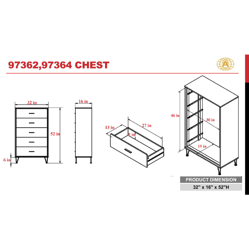 Deoss 5-Drawer Wooden Chest With Metal Legs in White BH97364 - Size