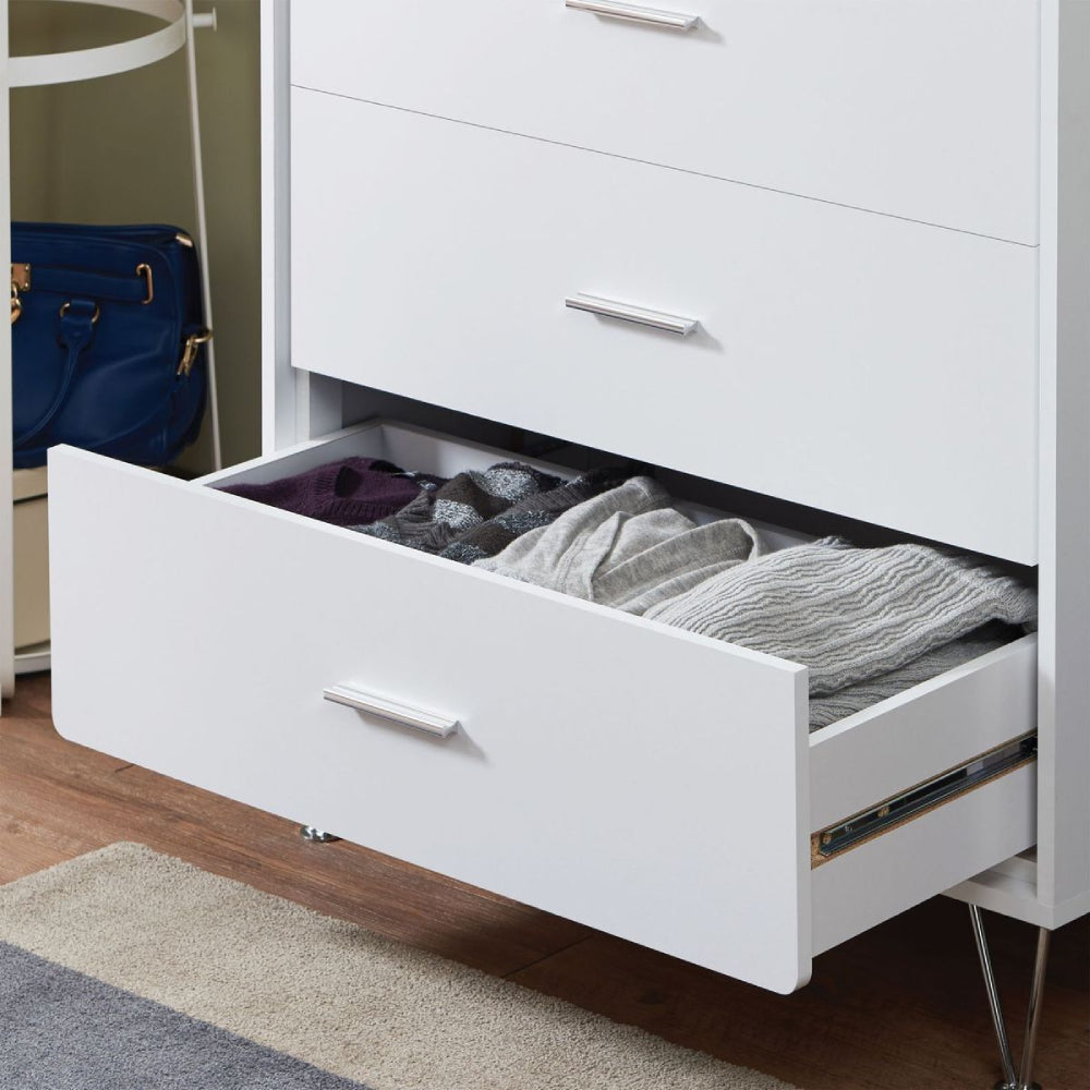 Light Gray Deoss 5-Drawer Wooden Chest With Metal Legs in White BH97364