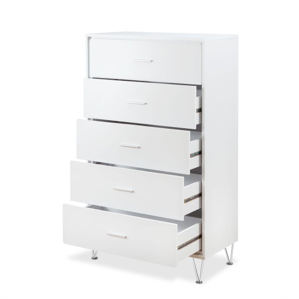 Lavender Deoss 5-Drawer Wooden Chest With Metal Legs in White BH97364