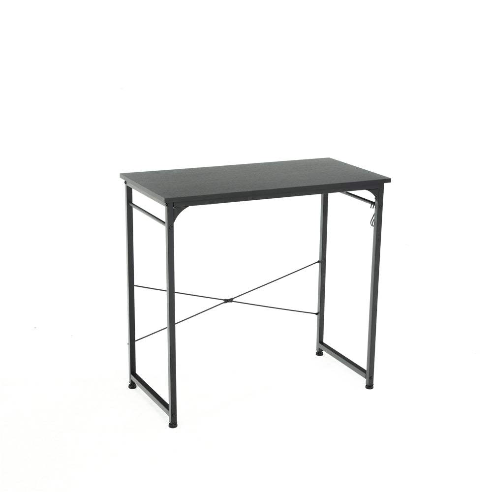 "32"" Computer Desk Study Writing Desk Industrial Simple Style Black Metal Frame Black"