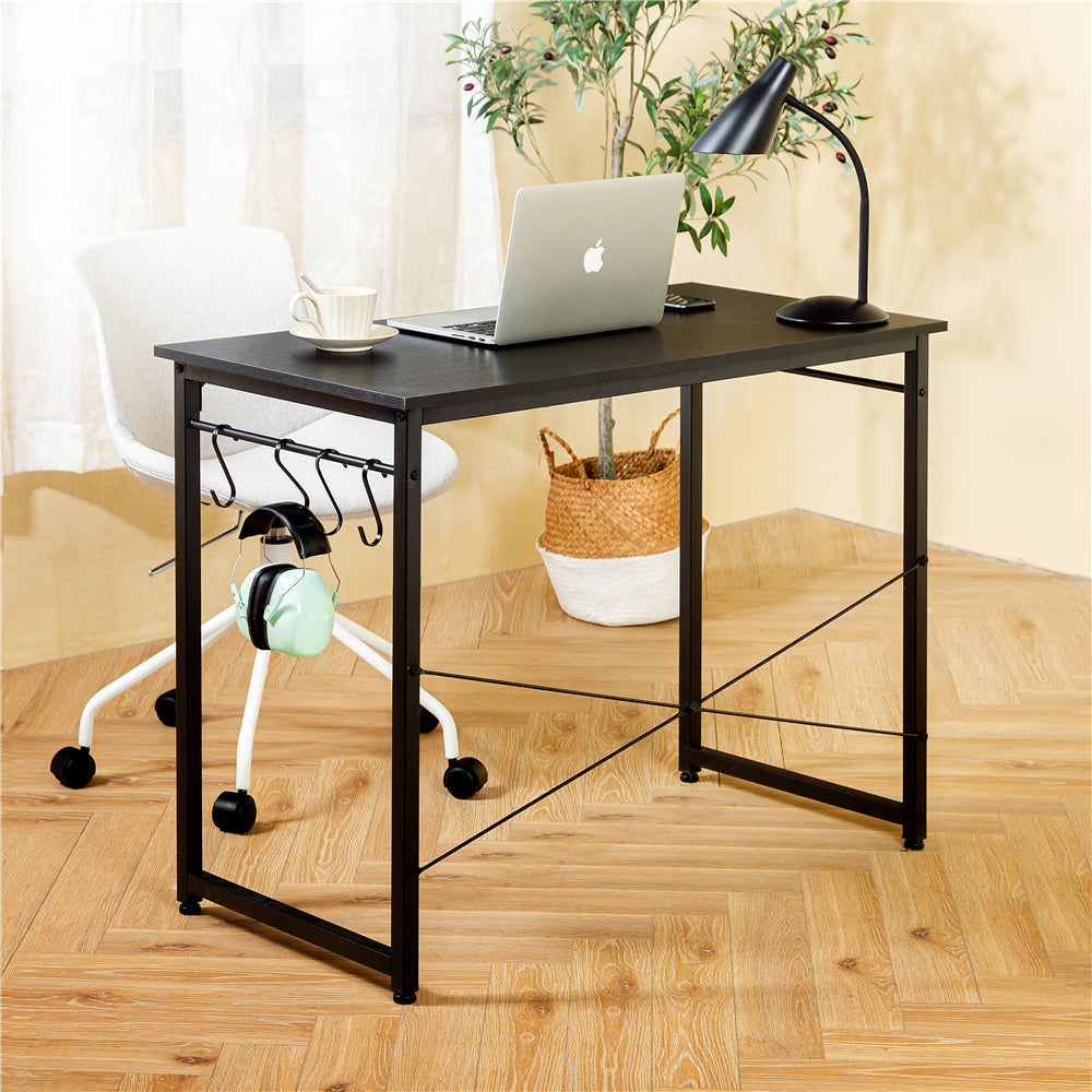 "40"" Computer Desk Study Writing Desk Industrial Simple Style Black Metal Frame Black"