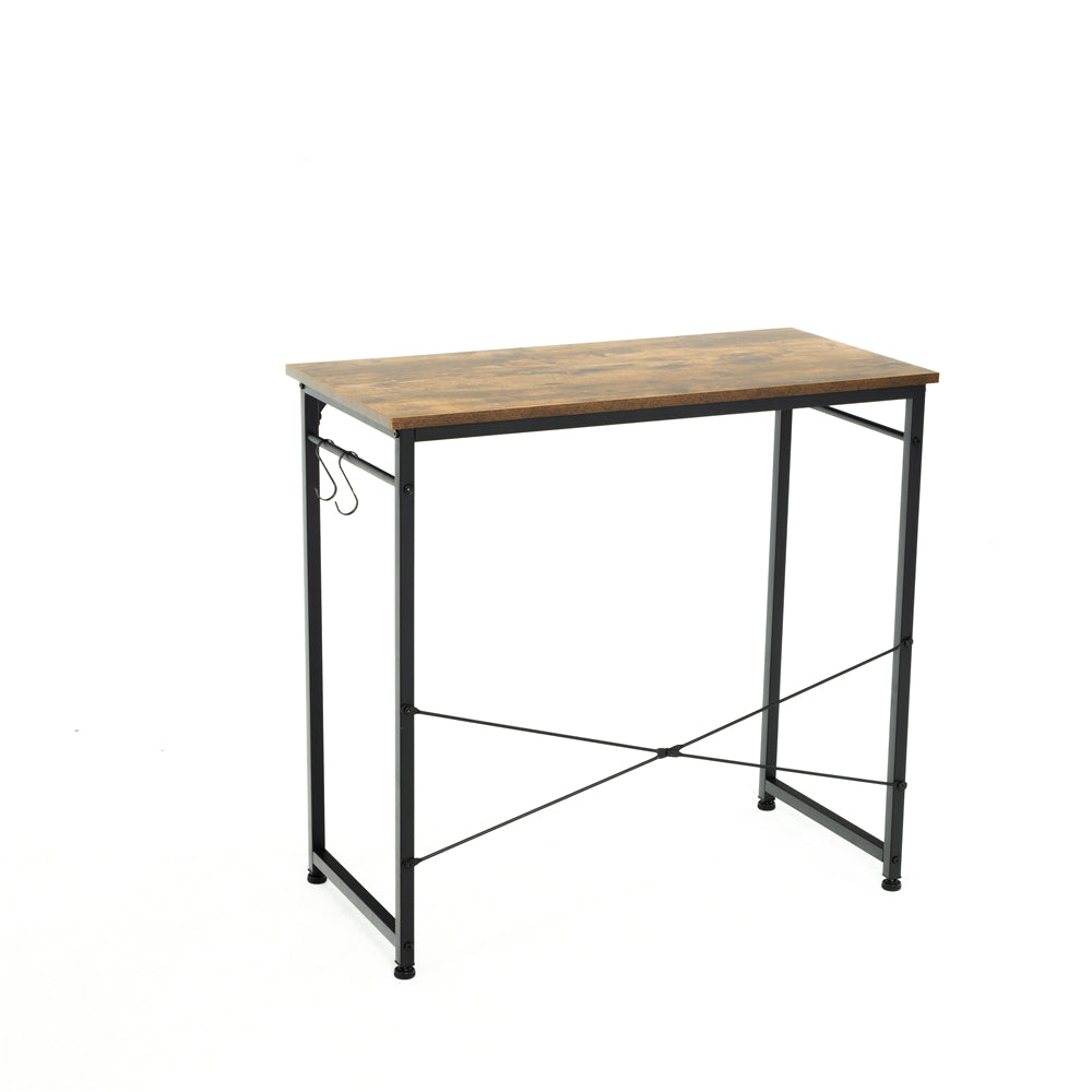 "32"" Computer Desk Study Writing Desk Industrial Simple Style Black Metal Frame Brown"