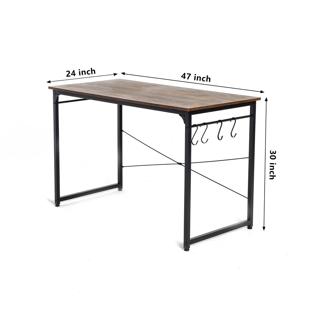 "47"" Computer Desk Study Writing Desk Industrial Simple Style Black Metal Frame Brown"