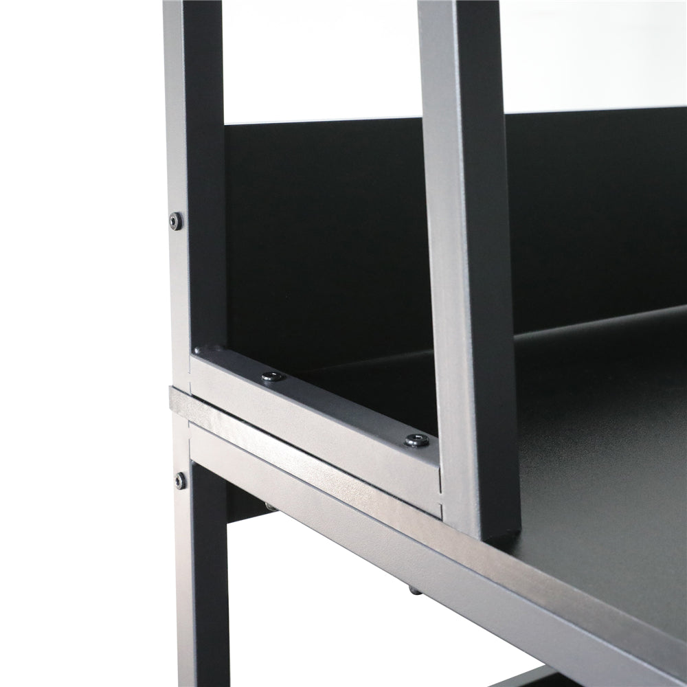 "Black 47"" Computer Desk with Hutch and Bookshelf BHW7062956"