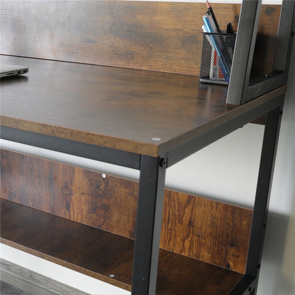 "47"" Computer Desk with Hutch and Bookshelf Walnut"