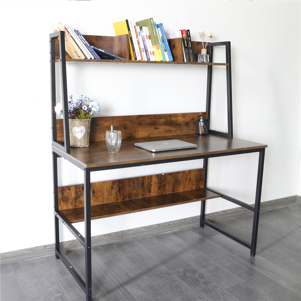 "Saddle Brown 47"" Computer Desk with Hutch and Bookshelf BHW7062956"