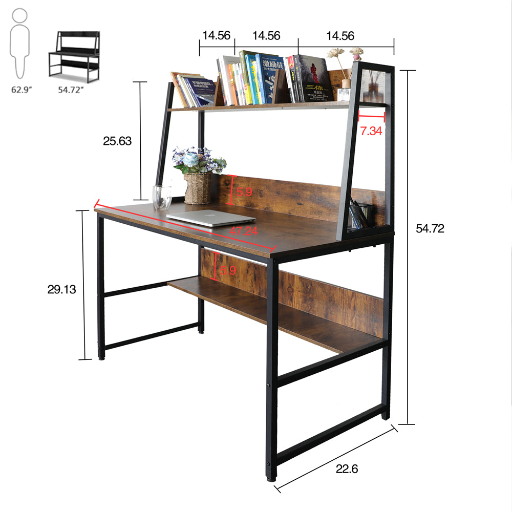 "Sienna 47"" Computer Desk with Hutch and Bookshelf BHW7062956"