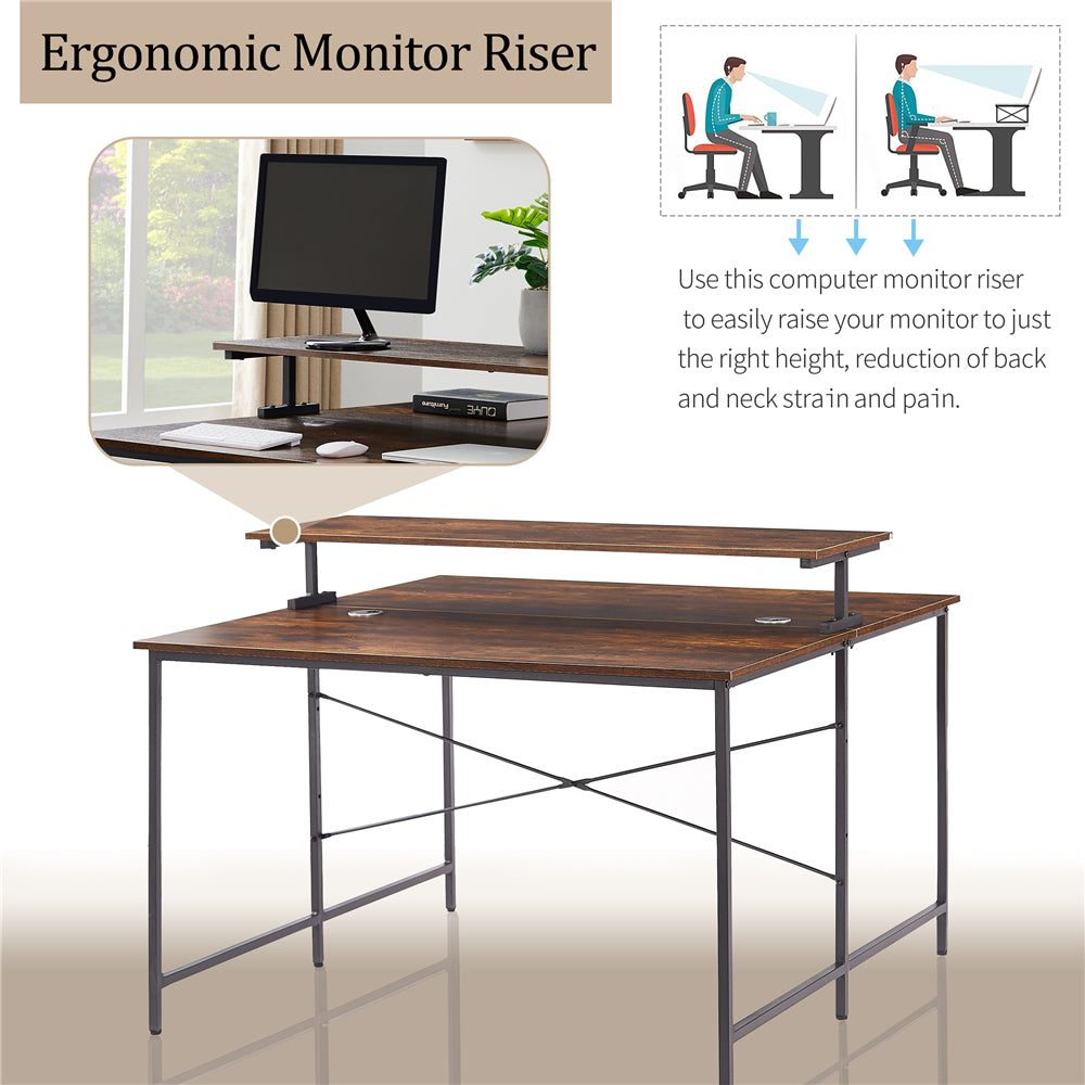 Two Person Computer Desk Double Workstation with Monitor Shelf Brown BH198003