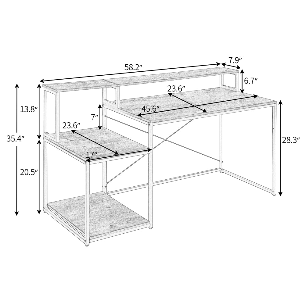 "59"" Computer Desk with Storage Shelves and Monitor Stand Riser Shelf BH198006 - Size"