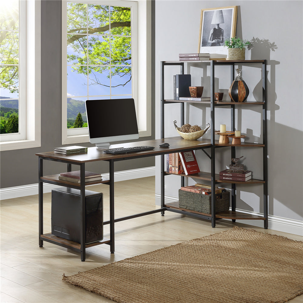 Large Study Writing Table Computer Desk with 5 Tier Storage Shelves Brown YL000001