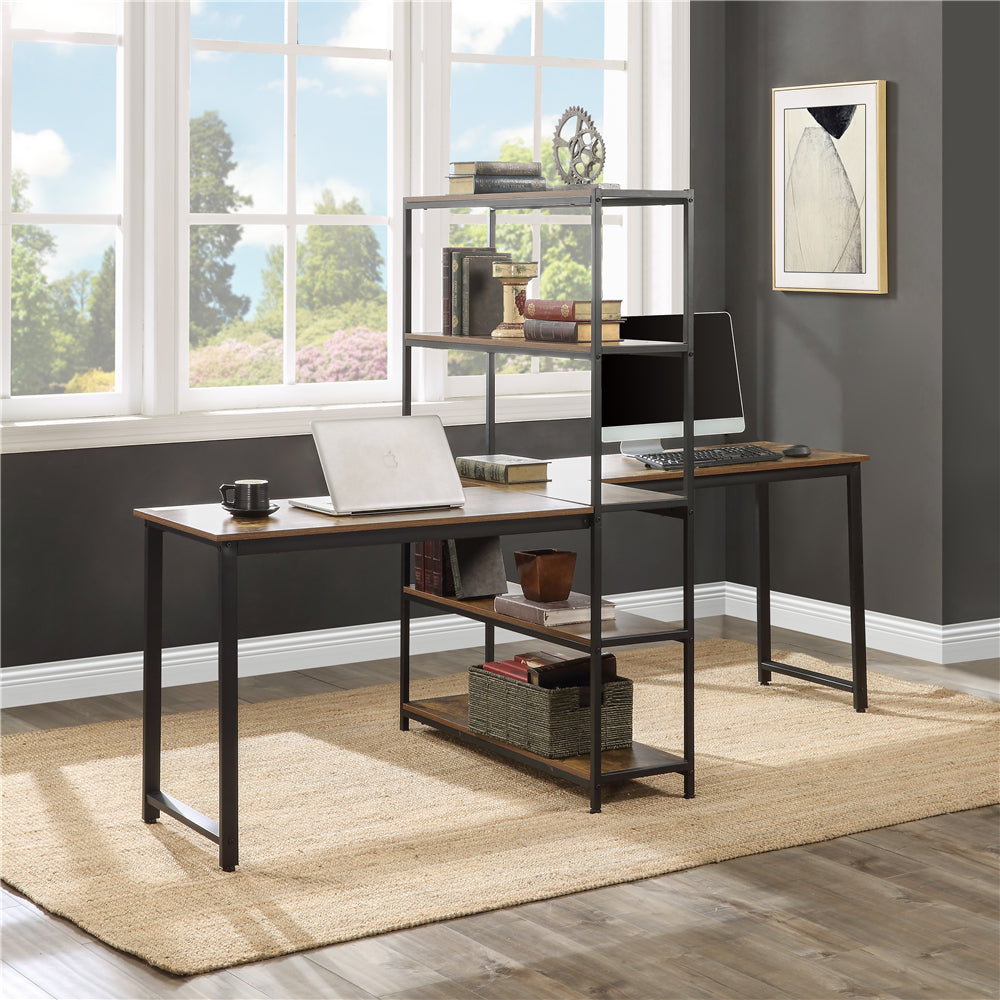 Dark Slate Gray Home Office Two Person Computer Desk with Storage Shelves Brown YL000002