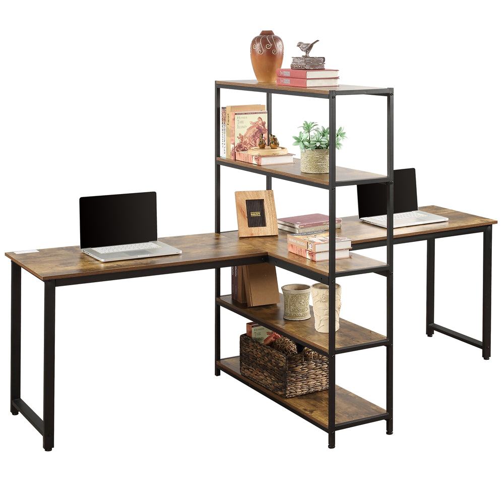 Tan Home Office Two Person Computer Desk with Storage Shelves Brown YL000002
