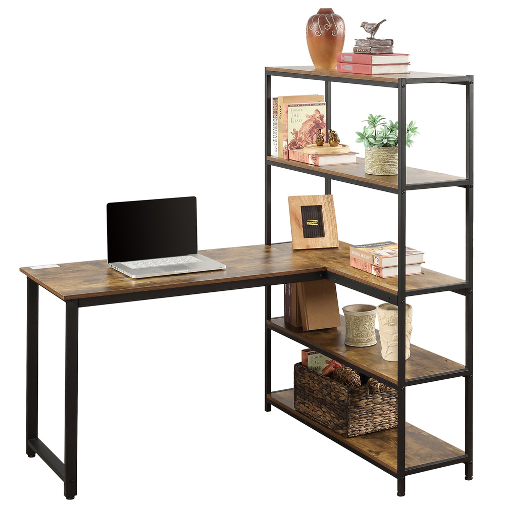 Rosy Brown Home Office Two Person Computer Desk with Storage Shelves Brown YL000002