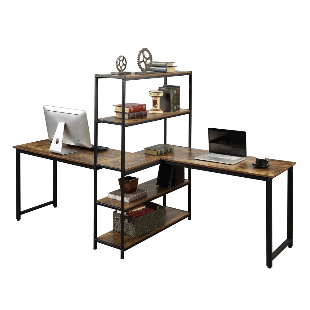 Dim Gray Home Office Two Person Computer Desk with Storage Shelves Brown YL000002