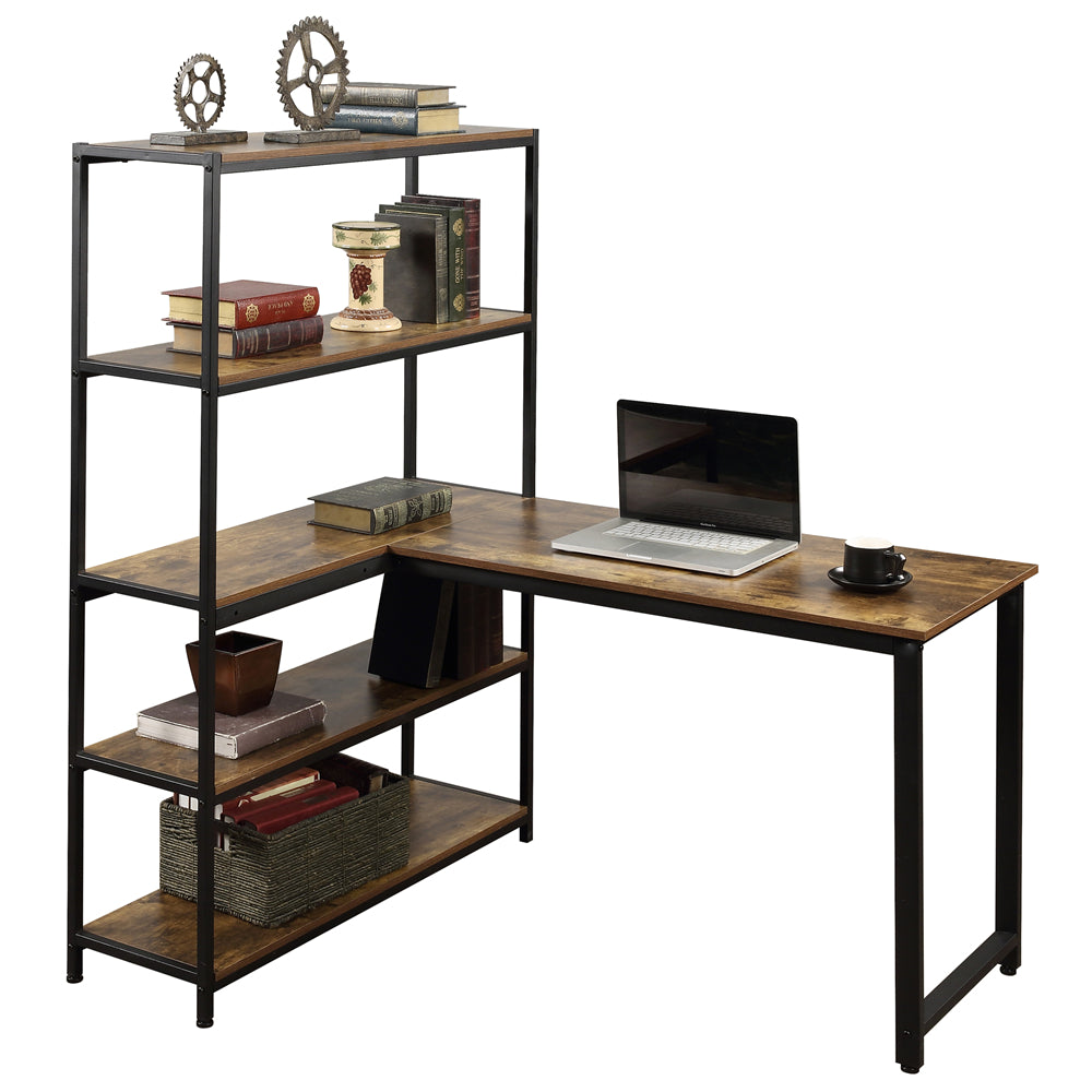 Black Home Office Two Person Computer Desk with Storage Shelves Brown YL000002