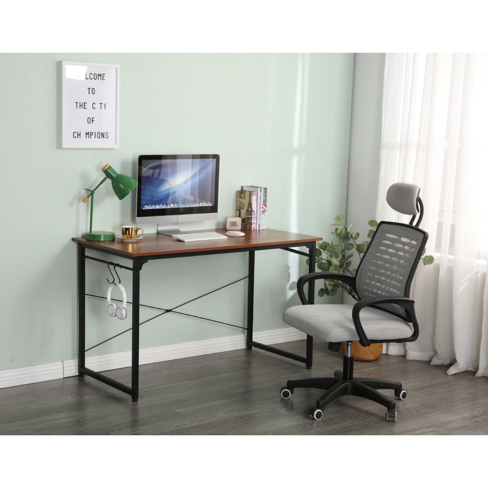 Light Gray Computer Desk Study Writing Desk Industrial Simple Style Black Metal Frame BH678286