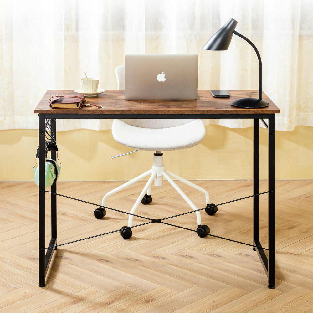 Tan Computer Desk Study Writing Desk Industrial Simple Style Black Metal Frame BH678286