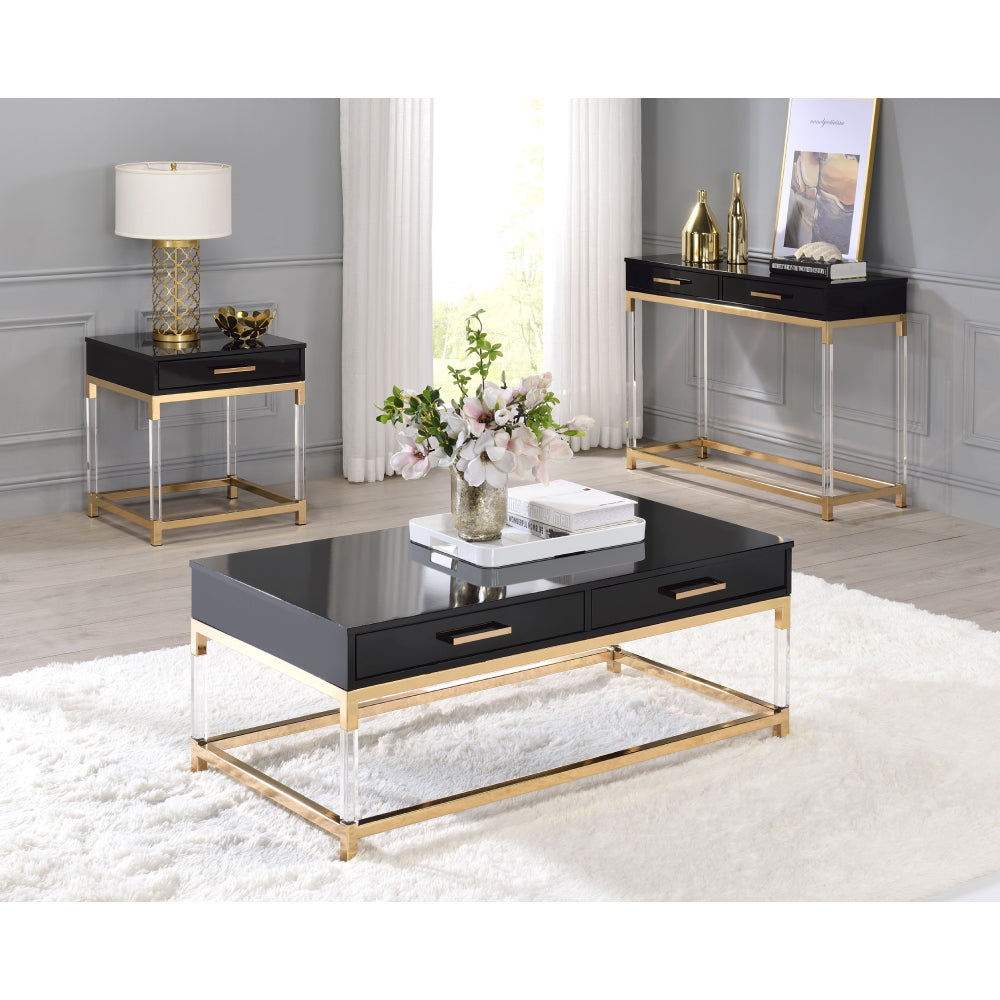 Console Table With Metal Base Frame & Arcylic Legs Black & Gold Finish BH82348