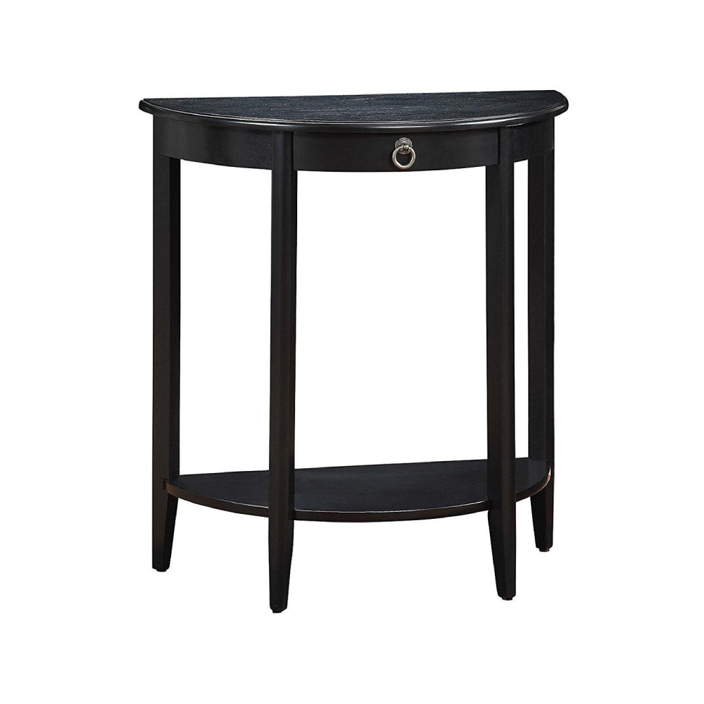 Half Moon Console Table w/1 Drw & Open Compartment in Black BH90163