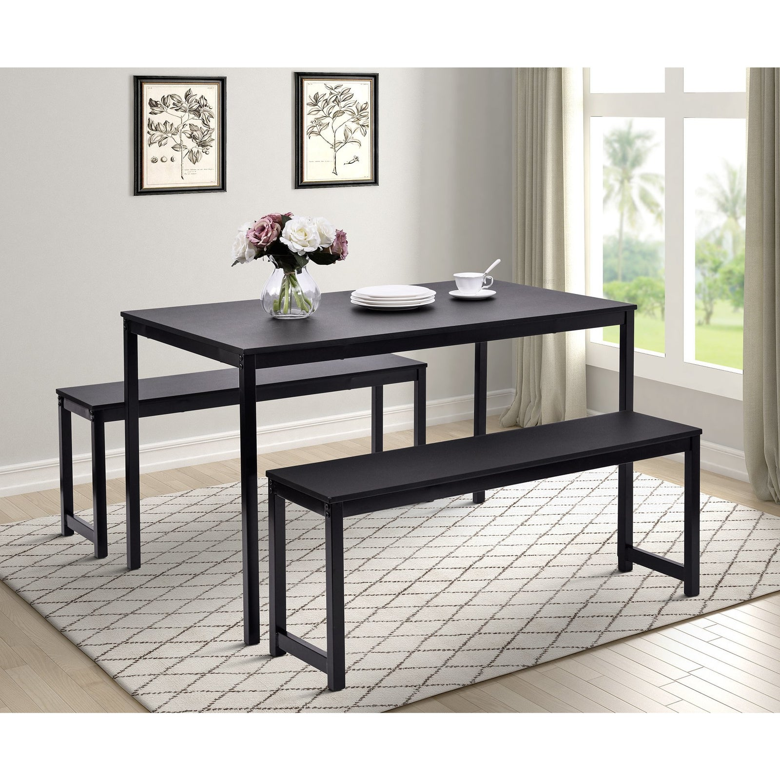 3 Counts - Dining Set with Two benches, Modern Dining Room Furniture - Black