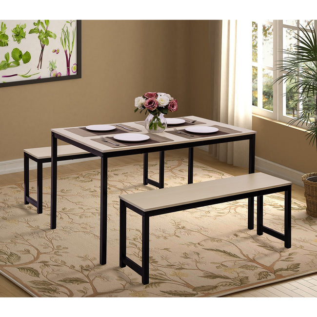 3 Counts - Dining Set with Two benches, Modern Dining Room Furniture