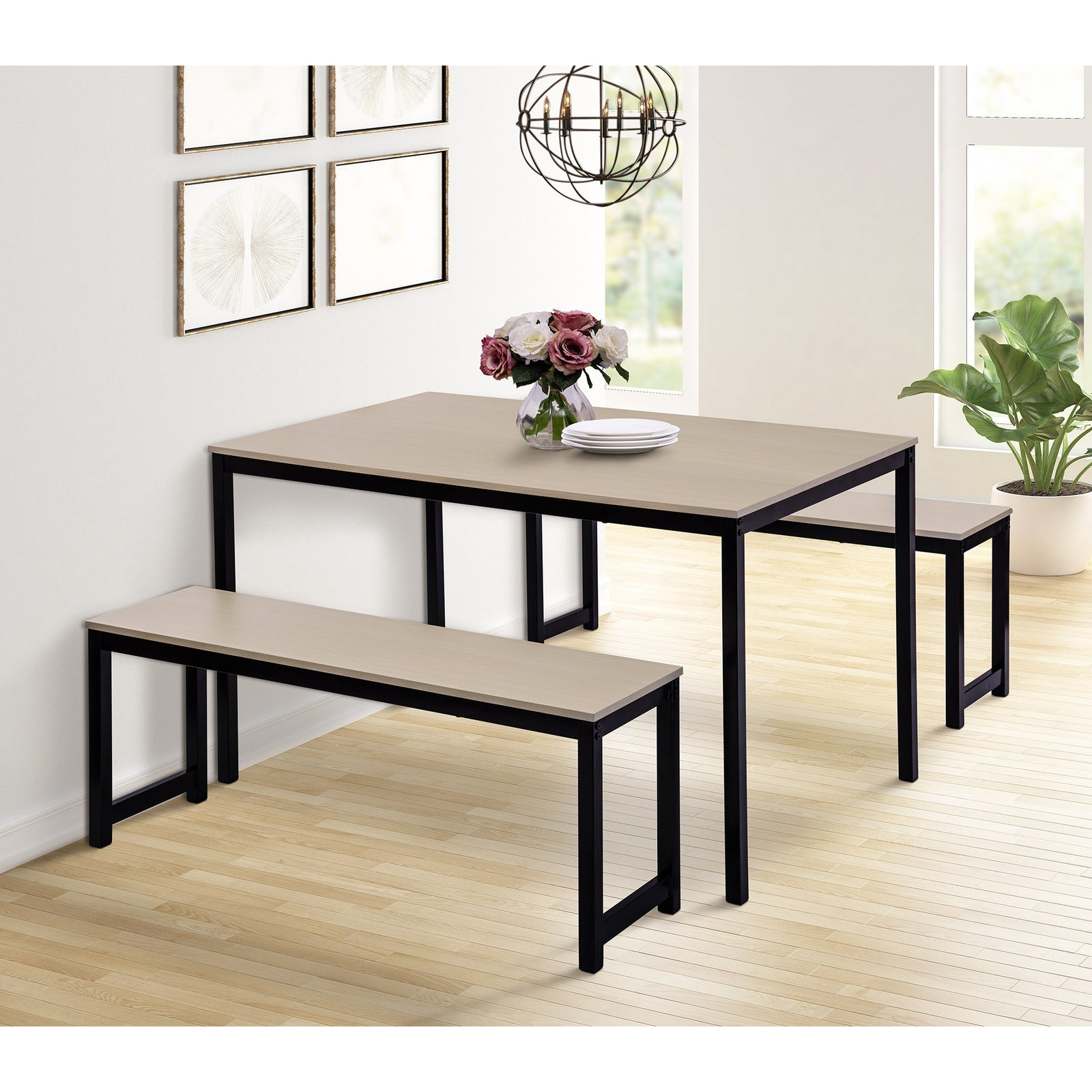 3 Counts - Dining Set with Two benches, Modern Dining Room Furniture - Beige