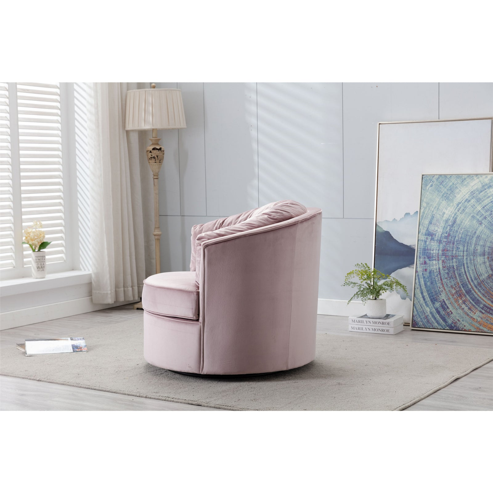 Dim Gray Modern Swivel Accent Chair Barrel Chair Leisure Chair for Living Room BH3951828