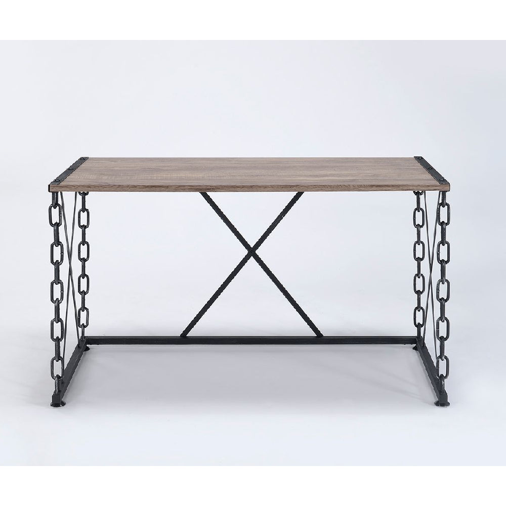 "Rectangular Desk With Leg Chain & ""X"" Support in Rustic Oak & Antique Black BH92248"