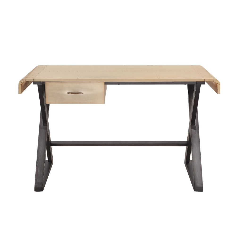 Danton Desk With 1 Drawer Gold Aluminum BH92424