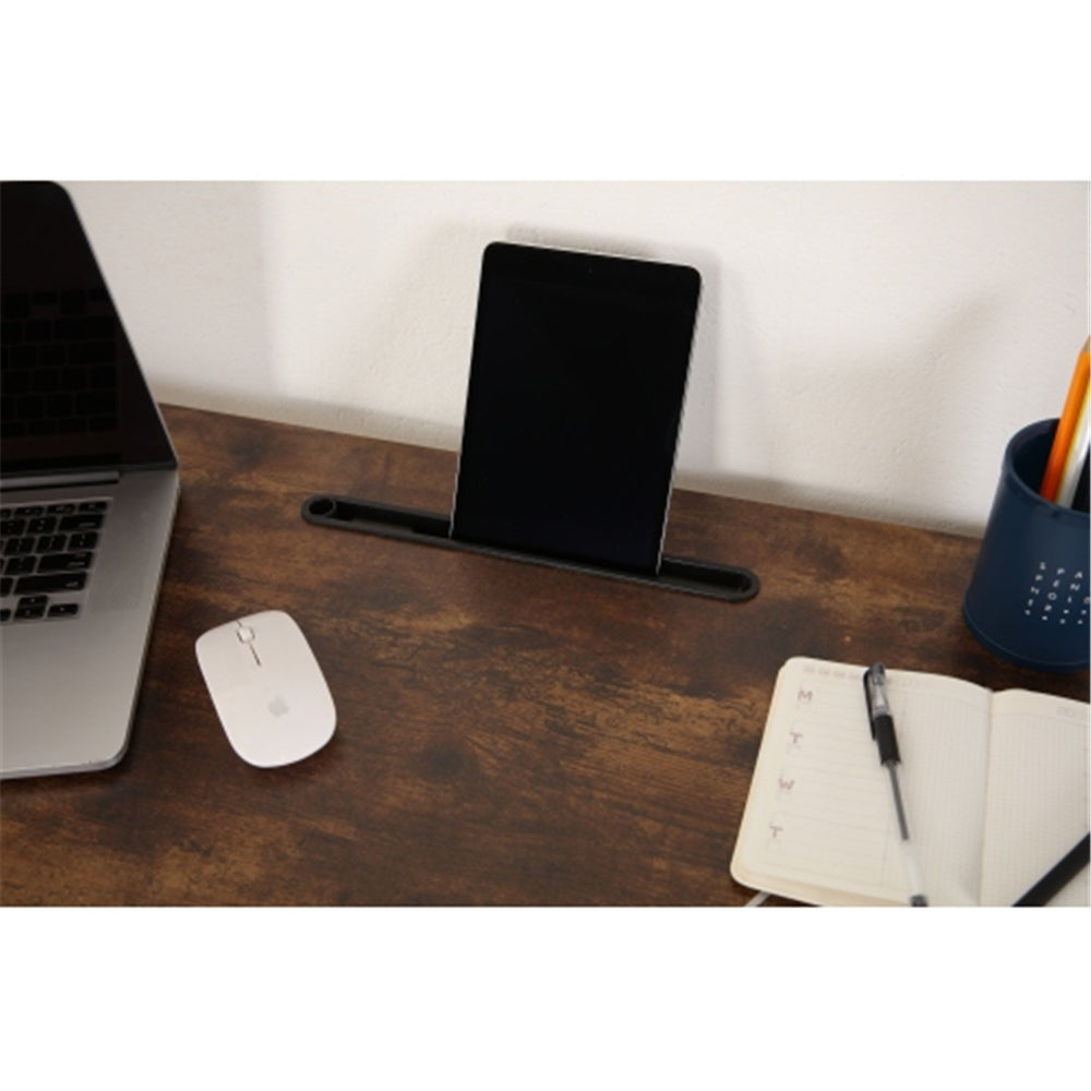 H-shaped Computer Desk with Bookshelf + Fabric Drawer + Earphone Hook BH49928438