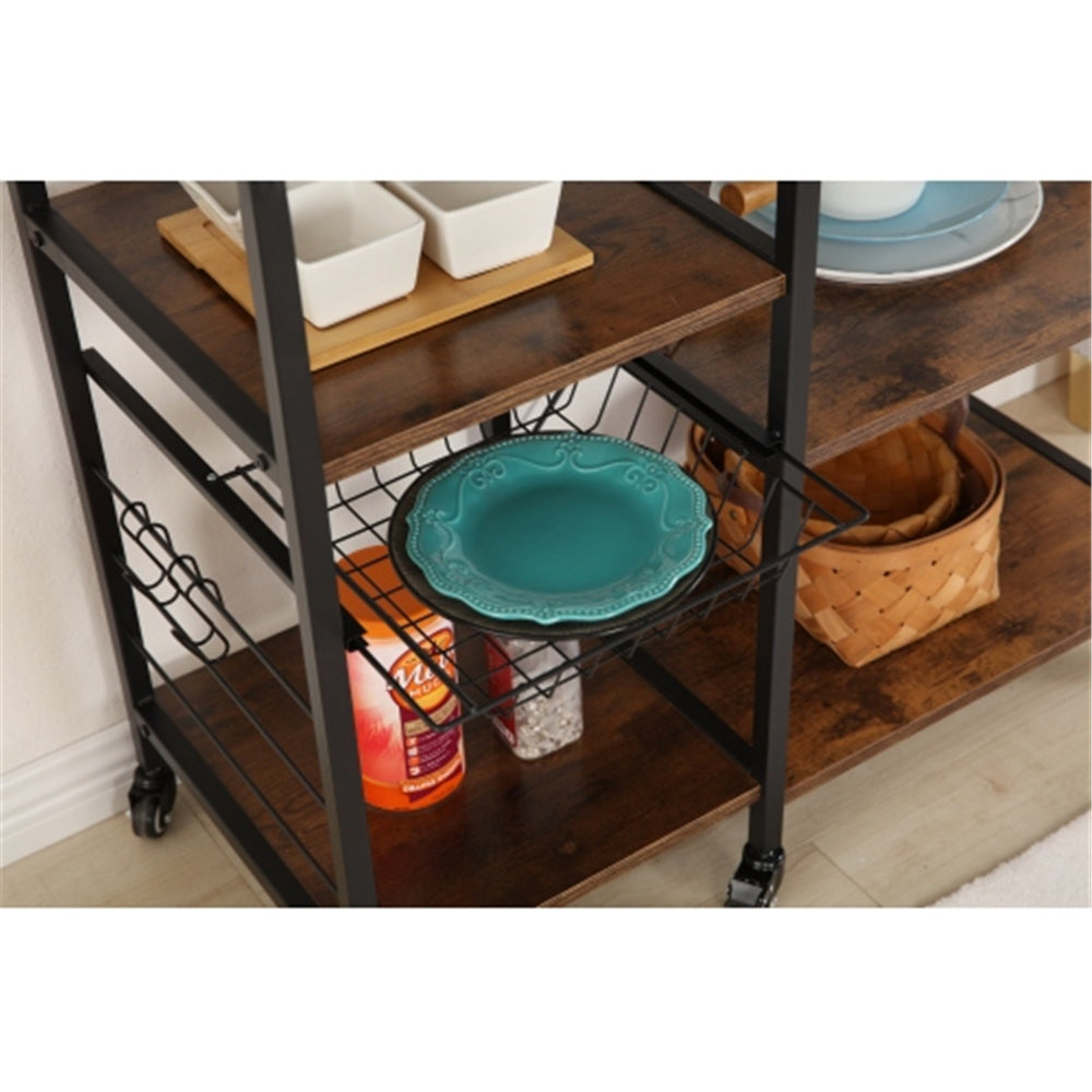 Kitchen Practical Storage Trolley with 4 Hooks and 6 Pulleys BH49928443