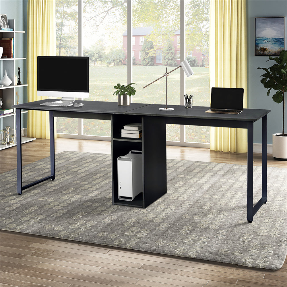 Home Office 2-Person Desk, Large Double Workstation Desk with Storage Black