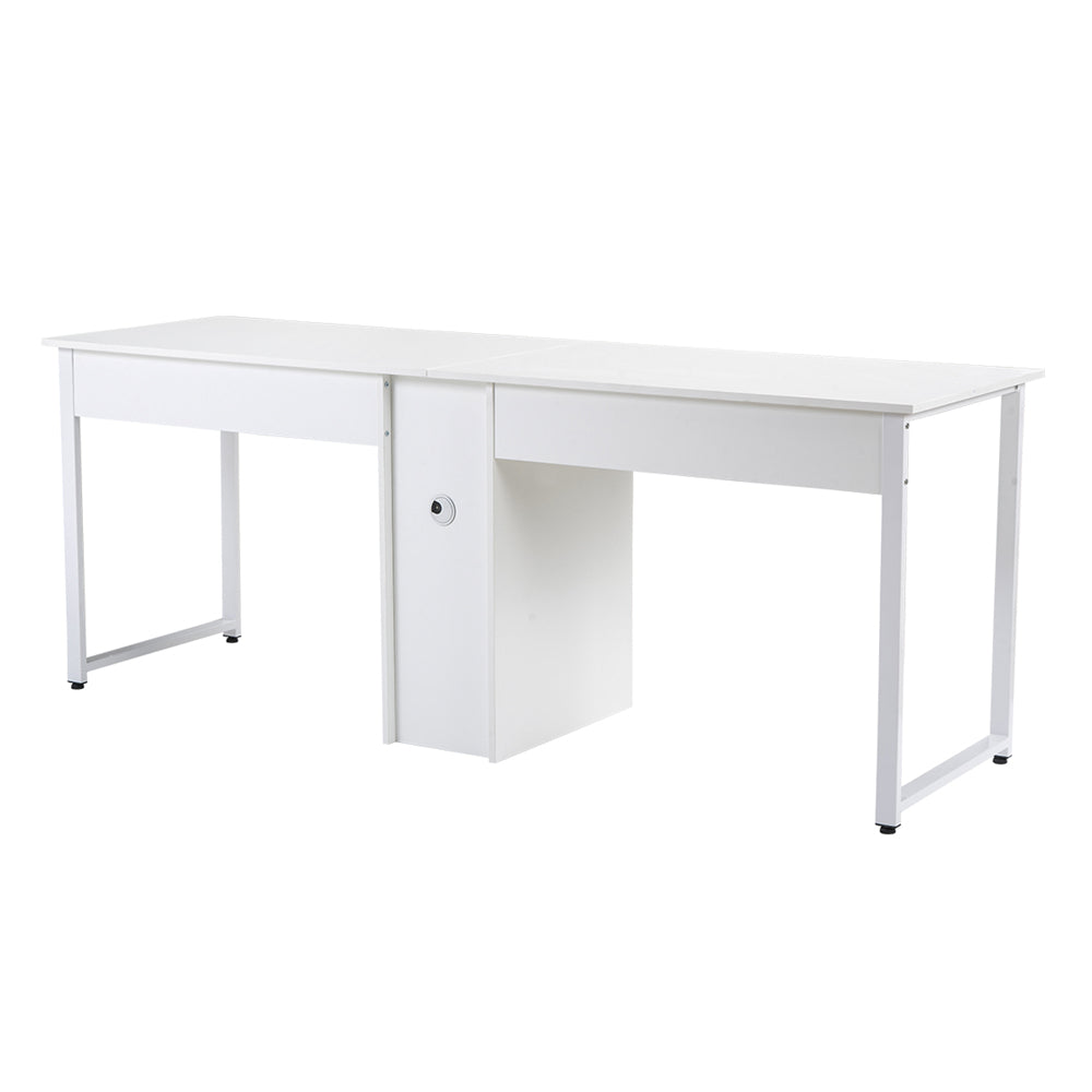 Home Office 2-Person Desk, Large Double Workstation Desk with Storage White