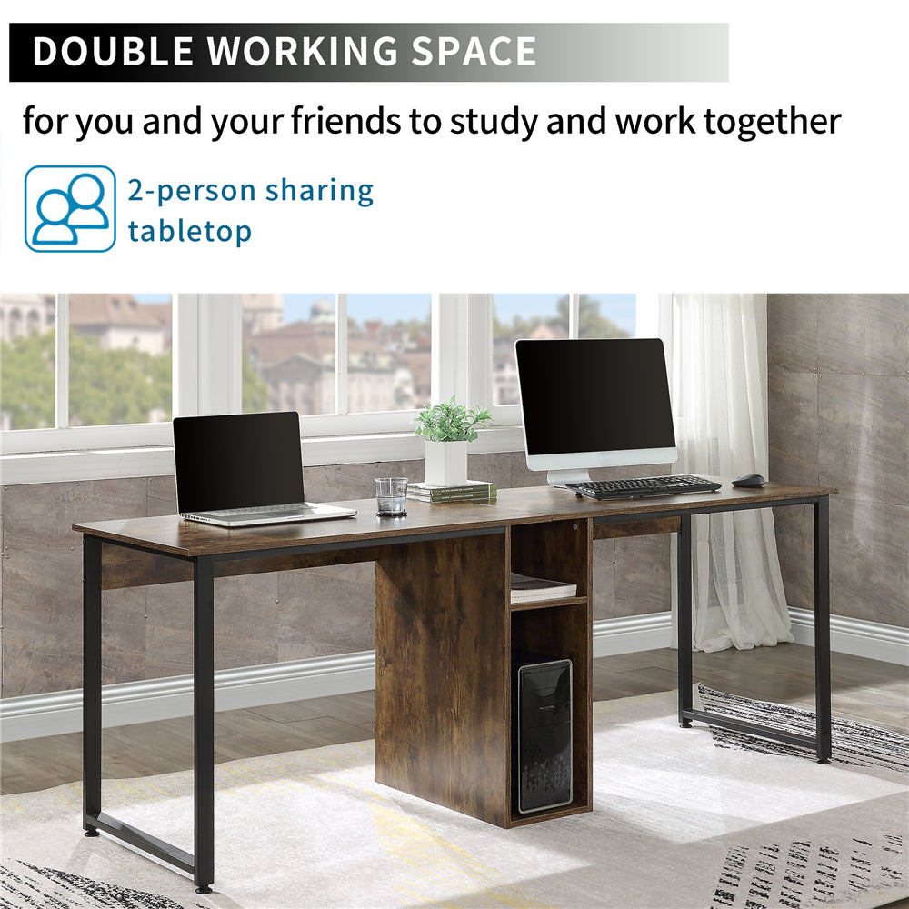 Dark Slate Gray Home Office 2-Person Desk, Large Double Workstation Desk with Storage BH198327