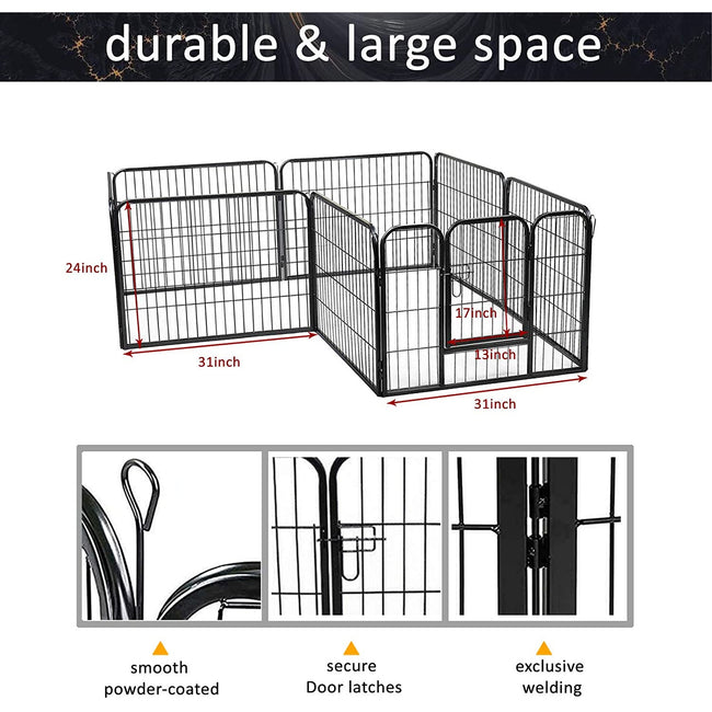 "White Smoke 24"" H Heavy Duty Folding Metal Dog Exercise Pens Fence Gate Crate Kennel Cage Pet Playpen 8 Panel"