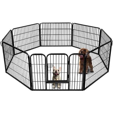 "24"" H Heavy Duty Folding Metal Dog Exercise Pens Fence Gate Crate Kennel Cage Pet Playpen(16Panel)"