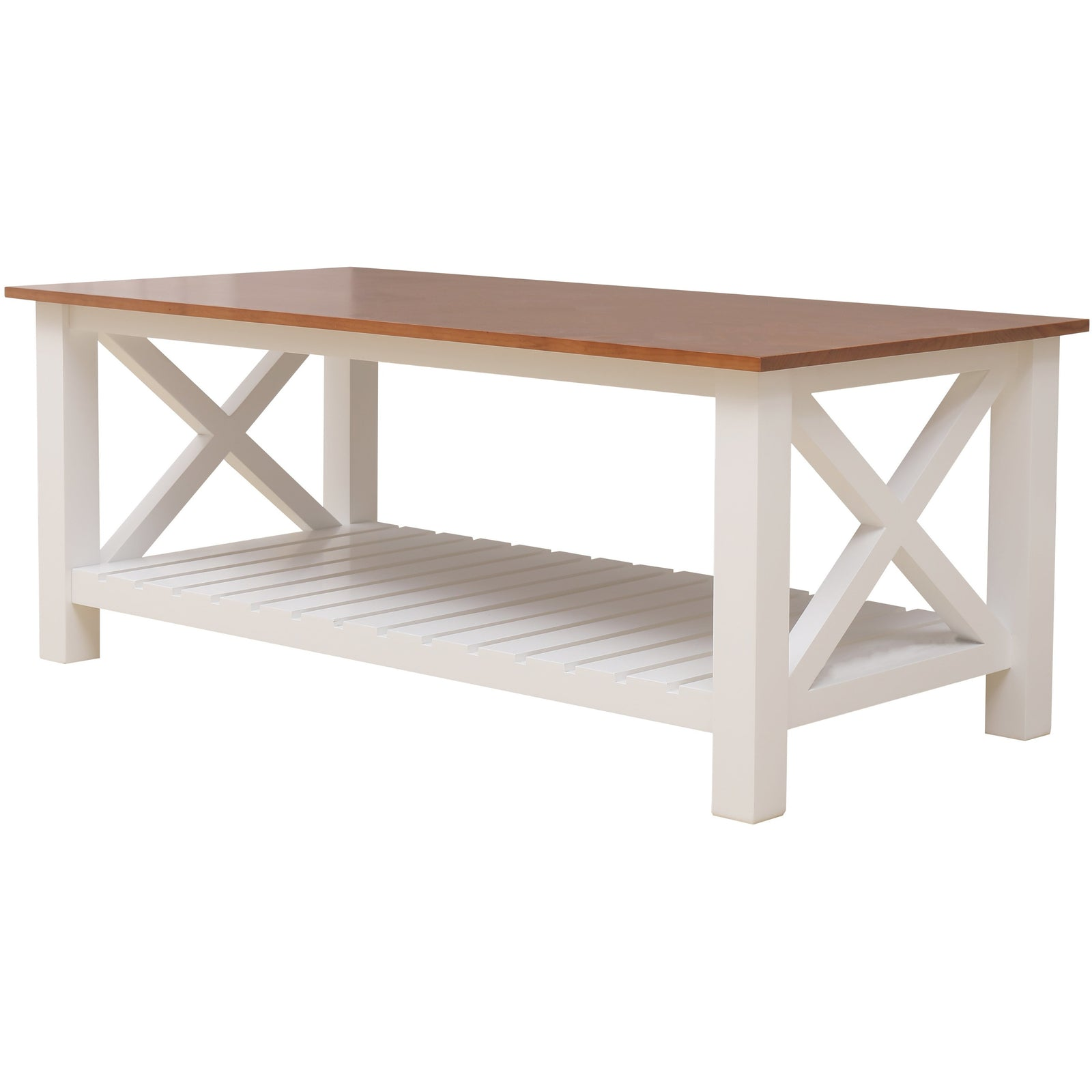 Wood Rustic Vintage Coffee Table Cocktail Table for Living Room With Shelf BH30005856