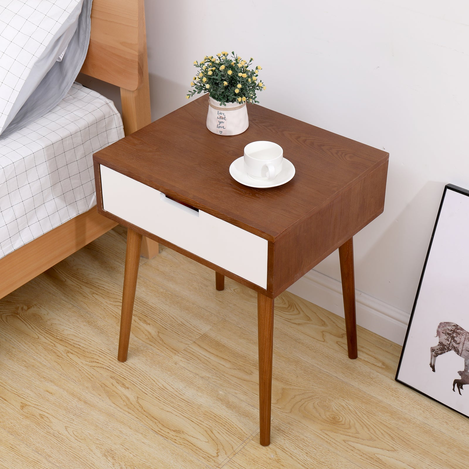 Sienna Light Fraxinus mandshurica/White Side End Table Nightstand with Drawer BH30005854